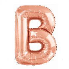 ballon aluminium helium lettre ab 103 cm rose gold | jourdefete.com