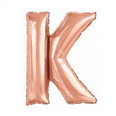 ballon aluminium helium lettre k 100 cm rose gold | jourdefete.com