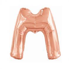 ballon aluminium helium lettre m 113 cm rose gold | jourdefete.com
