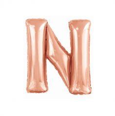 ballon aluminium helium lettre n 114 cm rose gold | jourdefete.com