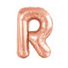 ballon aluminium helium lettre r 99 cm rose gold | jourdefete.com