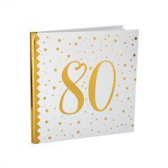 Livre d'Or Anniversaire - Blanc et Or - 80 ans | jourdefete.com