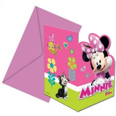 6 Cartes d'Invitation + Enveloppes - Minnie Mouse de Disney Junior