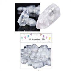 Lot de 12 petites ampoules LED blanches pour ballons et lampions