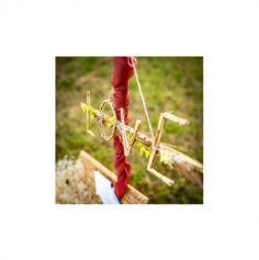 Suspension Mot Love fleurs séchées et bambou - 61 cm