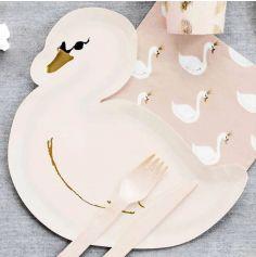 6 Assiettes Cygne en carton - Lovely Swan