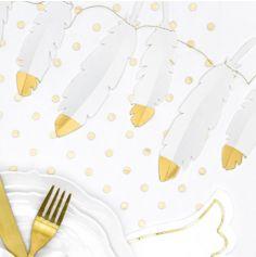 Guirlande de plumes blanches et dorées - Lovely Swan