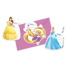 6 Cartes d'Invitation Princesses Disney