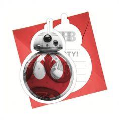 6 Cartes d'Invitation avec Enveloppes BB-8 - Star Wars Le Dernier Jedi