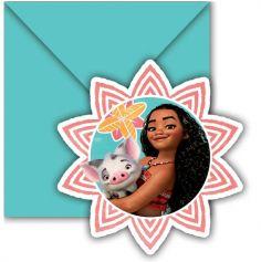 6 Cartes d'Invitation + Enveloppes - Vaiana, La Légende du bout du Monde