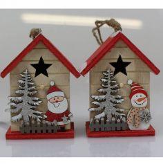 Maison à Suspendre en Bois - Décoration de Noël - 6 x 6 x 12,5 cm - Modèle au Choix