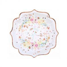 10 assiettes en carton mariage fleuri | jourdefete.com