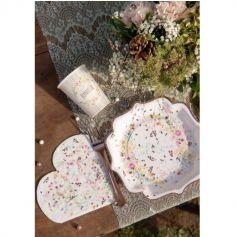 10 Assiettes en carton - Mariage Fleuri - 21 cm