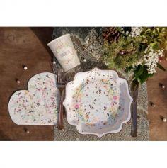 10 Gobelets en carton - Mariage Fleuri