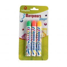 Lot de 3 Marqueurs Bingo - Jaune, Orange, Vert