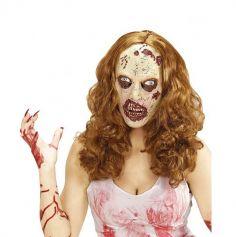masque-latex-perruque-rousse-zombie-blessures-halloween | JOURDEFETE.COM