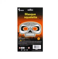 Set demi-masque squelette et ses 4 bâton lumineux