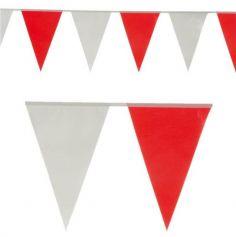 guirlande de fanions rouges et blancs de 5 mètres | jourdefete.com