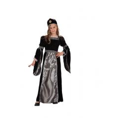 Déguisement Princesse Médiévale Noir et Argent Velours Fille - Taille au Choix