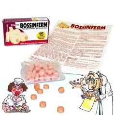 """Boite de Médicaments Bonbons Humoristiques """" Bossinferm"""""""