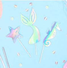 3 Cake Toppers Sirène - Iridescent - Mermaid