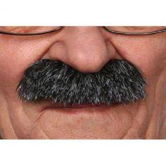 """Moustache """"Brosse"""" - Noir méché blanc"""