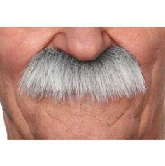 """Moustache """"Brosse"""" version longue - Gris méché blanc"""