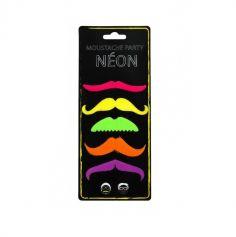 5 Moustaches Colorées Fluo