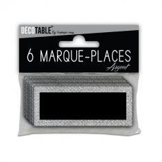 6 Marque-Places Pailletés - Argent
