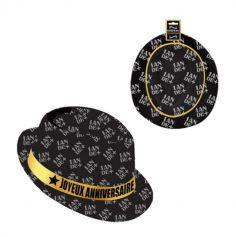 chapeau-anniversaire-noir-or|jourdefete.com