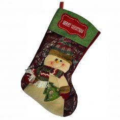 Chaussette de Noël à Suspendre avec Bonhomme de Neige