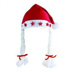 Bonnet de Mère Noël Lumineux en Feutrine avec des Tresses et des Etoiles - Adulte