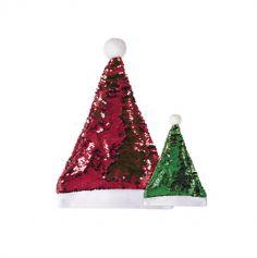 Bonnet de Noël à Sequins Réversibles - Rouge et Vert - Adulte