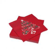 serviette rouge ouate imprimée de sapin de noël | jourdefete.com