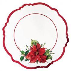 4 sous-assiettes en carton Poinsettia de 33 cm