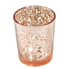 bougeoir en verre rose gold metallise | jourdefete.com