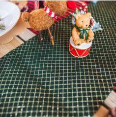 Chemin de table croisillon intissé vert et paillettes or