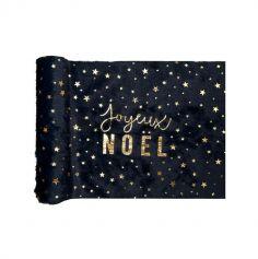 chemin de table en fourrure joyeux noel bleu nuit et or | jourdefete.com