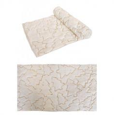 Chemin de table Soft Dream blanc avec lignes de Sapins Dorées - 3 m