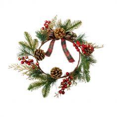 couronne de Noel avec sapin nœuds ecossais et paillettes dorees