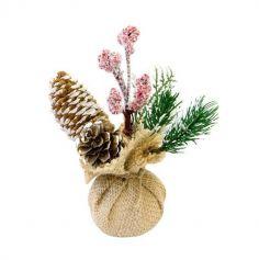 Mini bouquet de sapin dans un sac en toile de jute – 15 cm