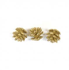 10 mini pommes de pin pailletees dorees | jourdefete.com