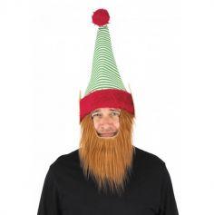 Bonnet de lutin avec barbe pour adulte