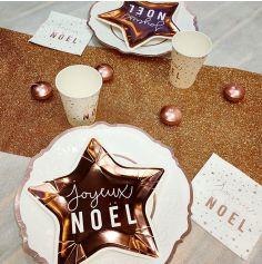 pack de decorations de table de noel rose gold pour 8 personnes | jourdefete.com