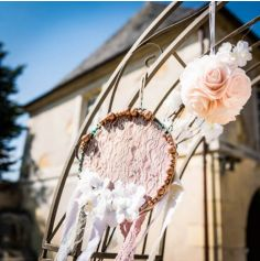 12 Grosses Perles en Bois - Paillettes Rose Gold