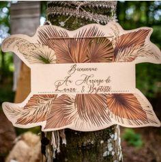 Pancarte Bienvenue - Palm Leaf - Sable et Or