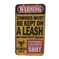 Panneau Halloween - Warning Zombies