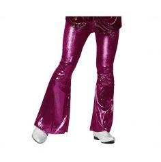 Pantalon pattes d'eph' disco fuchsia brillant - Taille au choix
