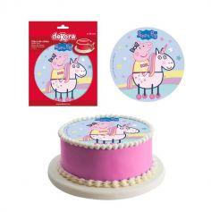Disque en Azyme Peppa Pig™ Licorne - 20 cm