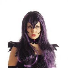 Perruque halloween violette cheveux longs